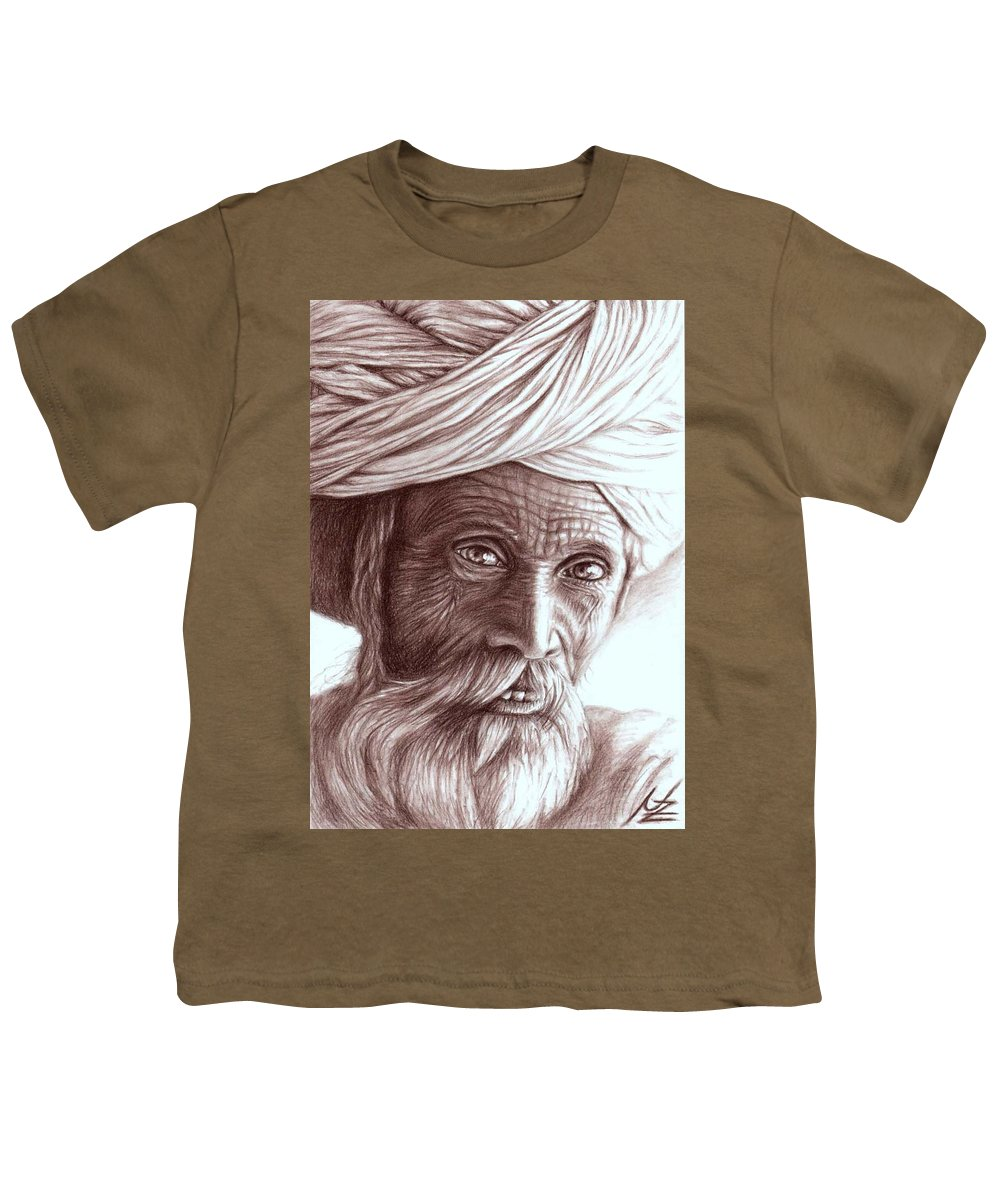 Man Youth T-Shirt featuring the drawing Old Indian Man by Nicole Zeug