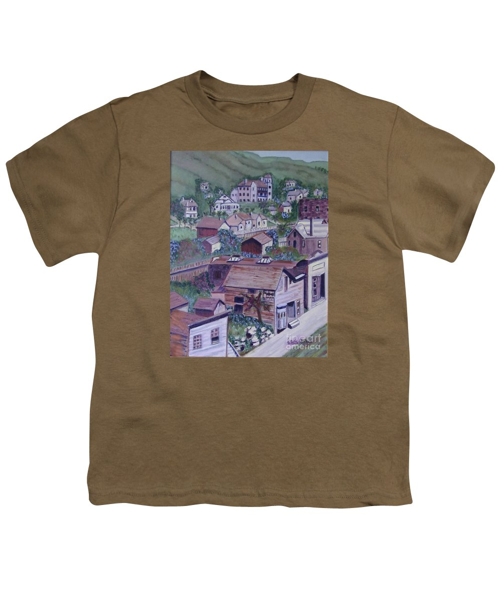 Ventura Youth T-Shirt featuring the painting Old Ventura by Laurie Morgan