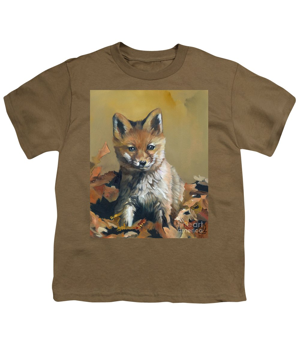 Fox Youth T-Shirt featuring the painting Once Upon A Time by J W Baker