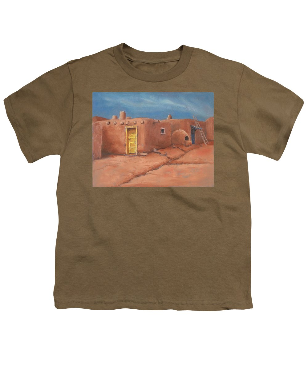 Taos Youth T-Shirt featuring the painting One Yellow Door by Jerry McElroy