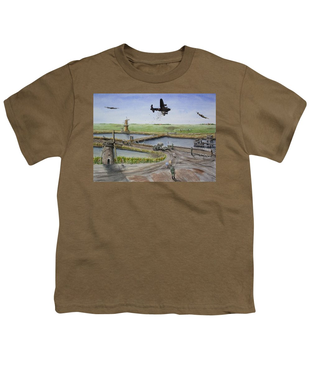 Lancaster Bomber Youth T-Shirt featuring the painting Operation Manna IIi by Gale Cochran-Smith