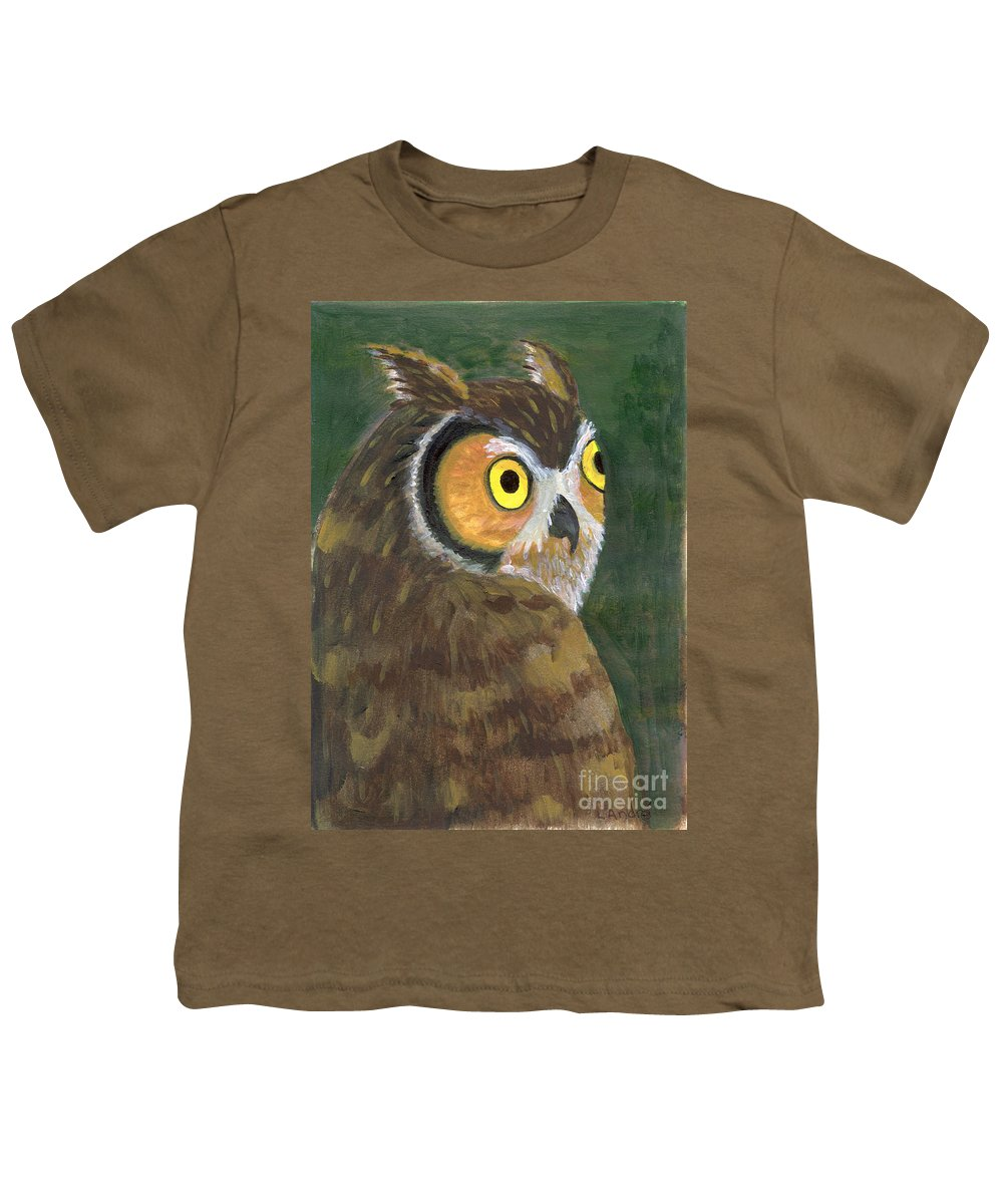 Owl Youth T-Shirt featuring the painting Owl 2009 by Lilibeth Andre