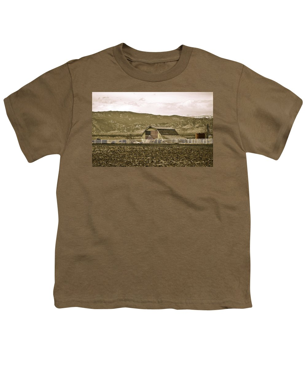 Americana Youth T-Shirt featuring the photograph Patriotism And Barn by Marilyn Hunt