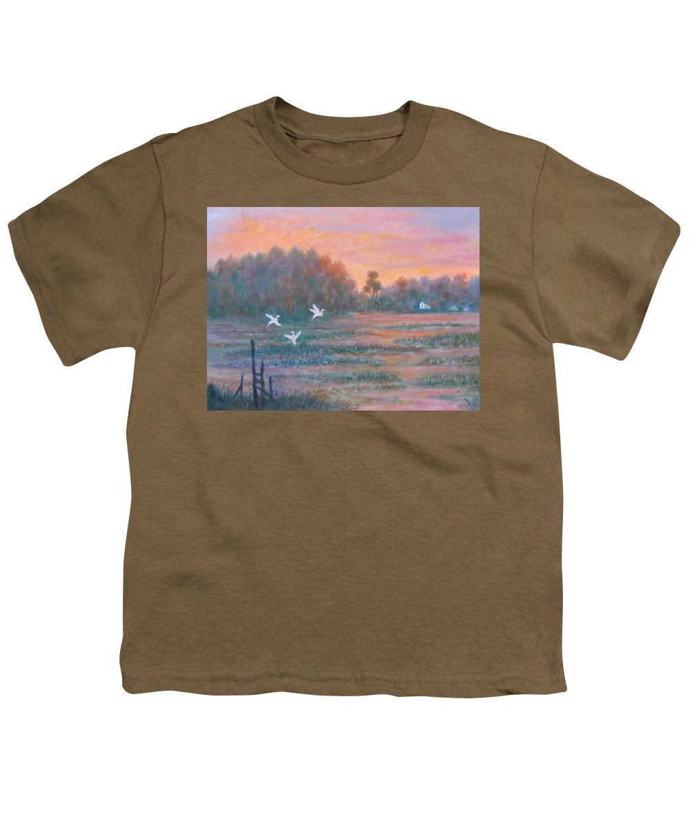 Low Country; Egrets; Sunset Youth T-Shirt featuring the painting Pawleys Island by Ben Kiger
