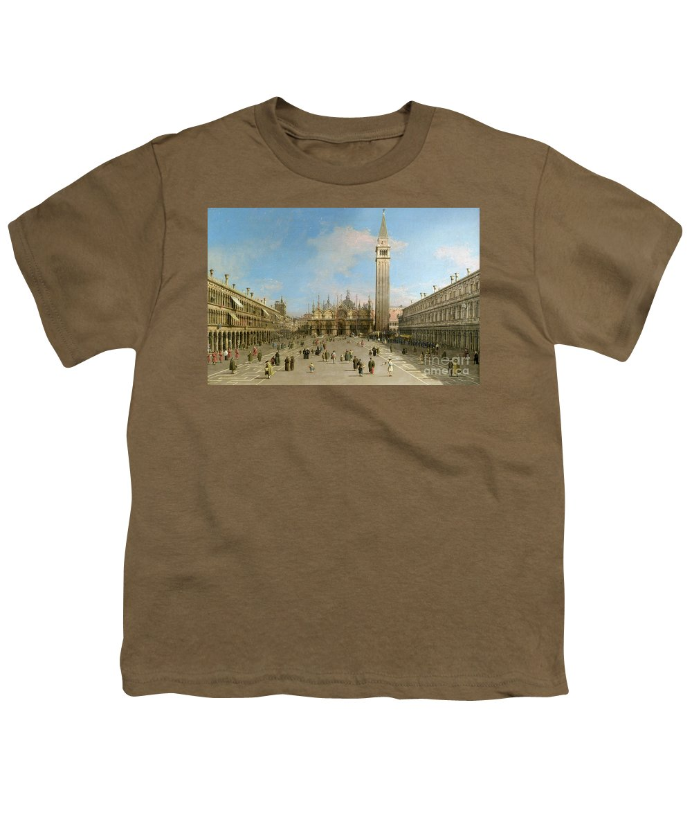 Canaletto Youth T-Shirt featuring the painting Piazza San Marco Looking Towards The Basilica Di San Marco by Canaletto