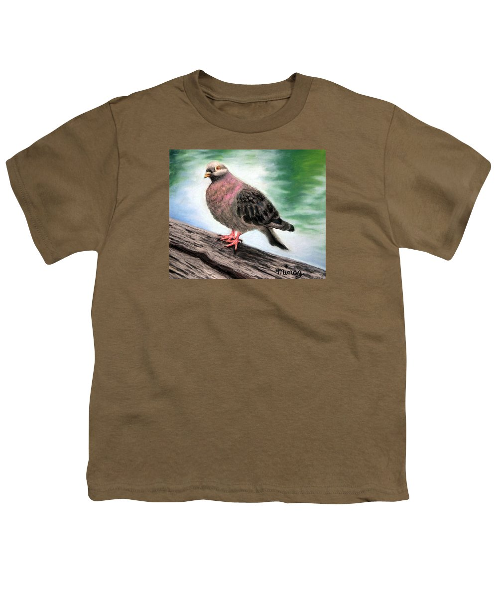 Pigeon Youth T-Shirt featuring the painting Pigeon Toes by Minaz Jantz