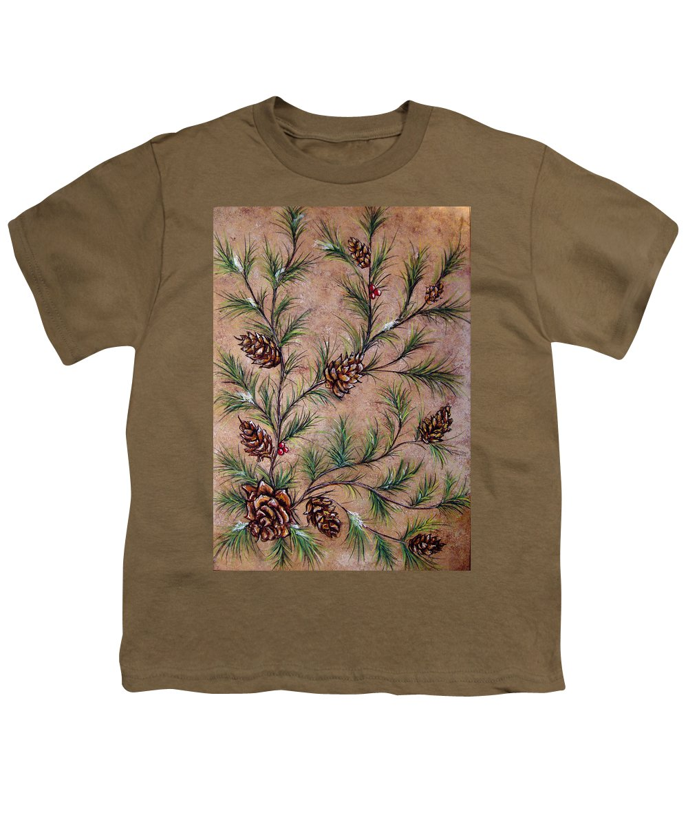 Acrylic Youth T-Shirt featuring the painting Pine Cones And Spruce Branches by Nancy Mueller