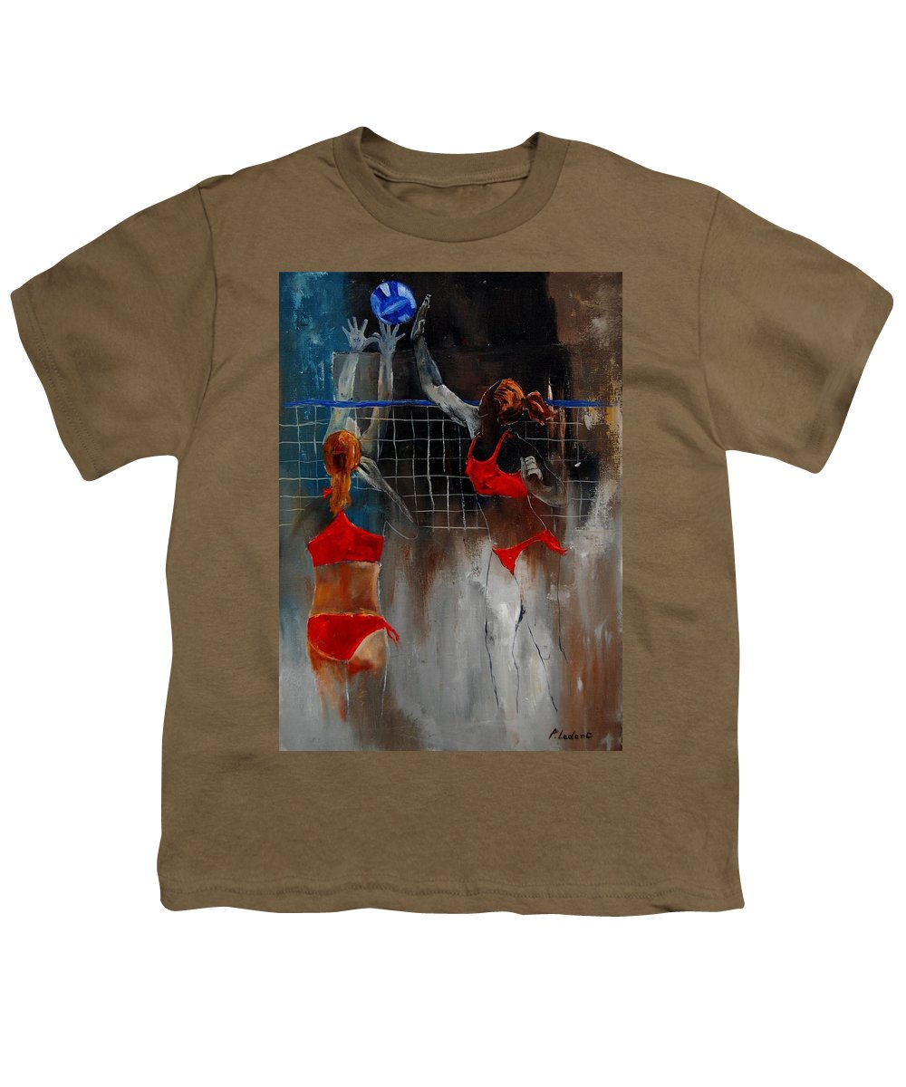 Sport Youth T-Shirt featuring the painting Playing Volley by Pol Ledent