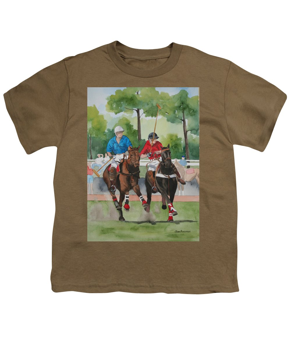 Polo Youth T-Shirt featuring the painting Polo In The Afternoon 2 by Jean Blackmer