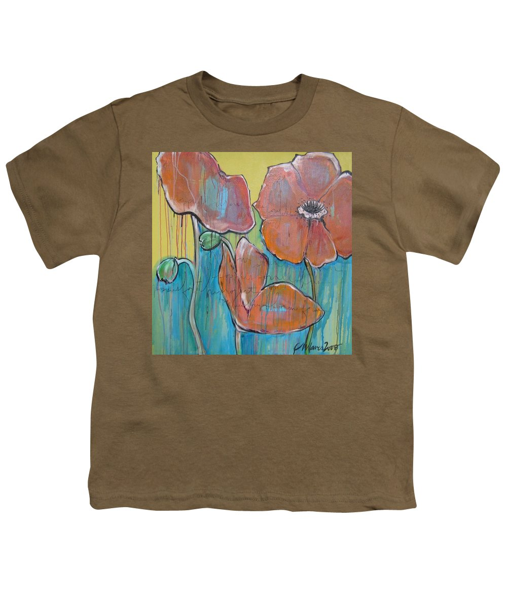 Pop Art Youth T-Shirt featuring the painting Poppies 3 by Laurie Maves ART