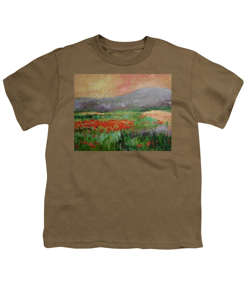 Poppies Youth T-Shirt featuring the painting Poppyfield by Ginger Concepcion