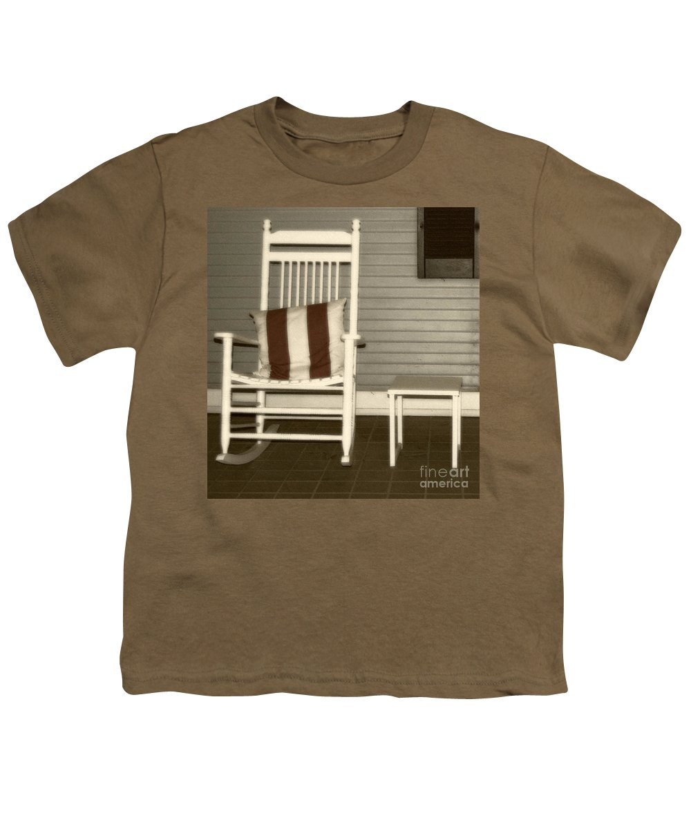 Rocking Chair Youth T-Shirt featuring the photograph Porch Rocker by Debbi Granruth
