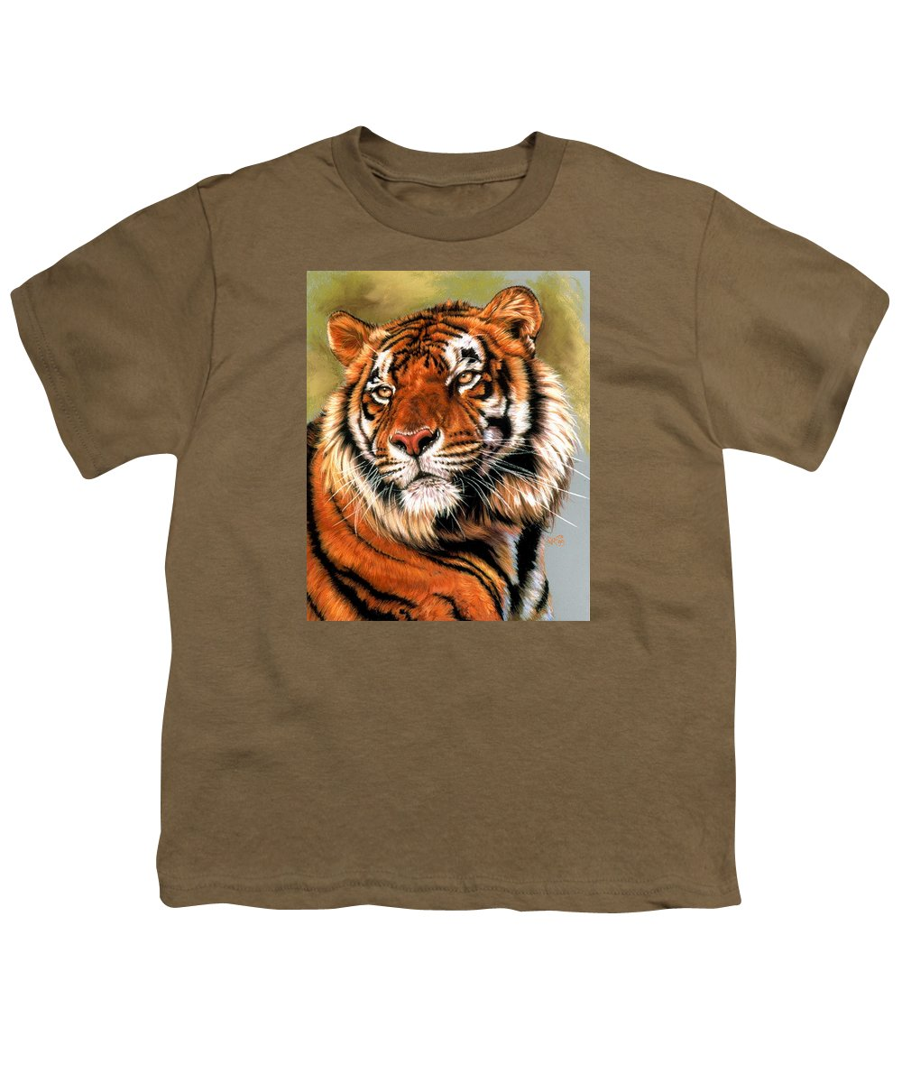 Tiger Youth T-Shirt featuring the pastel Power And Grace by Barbara Keith