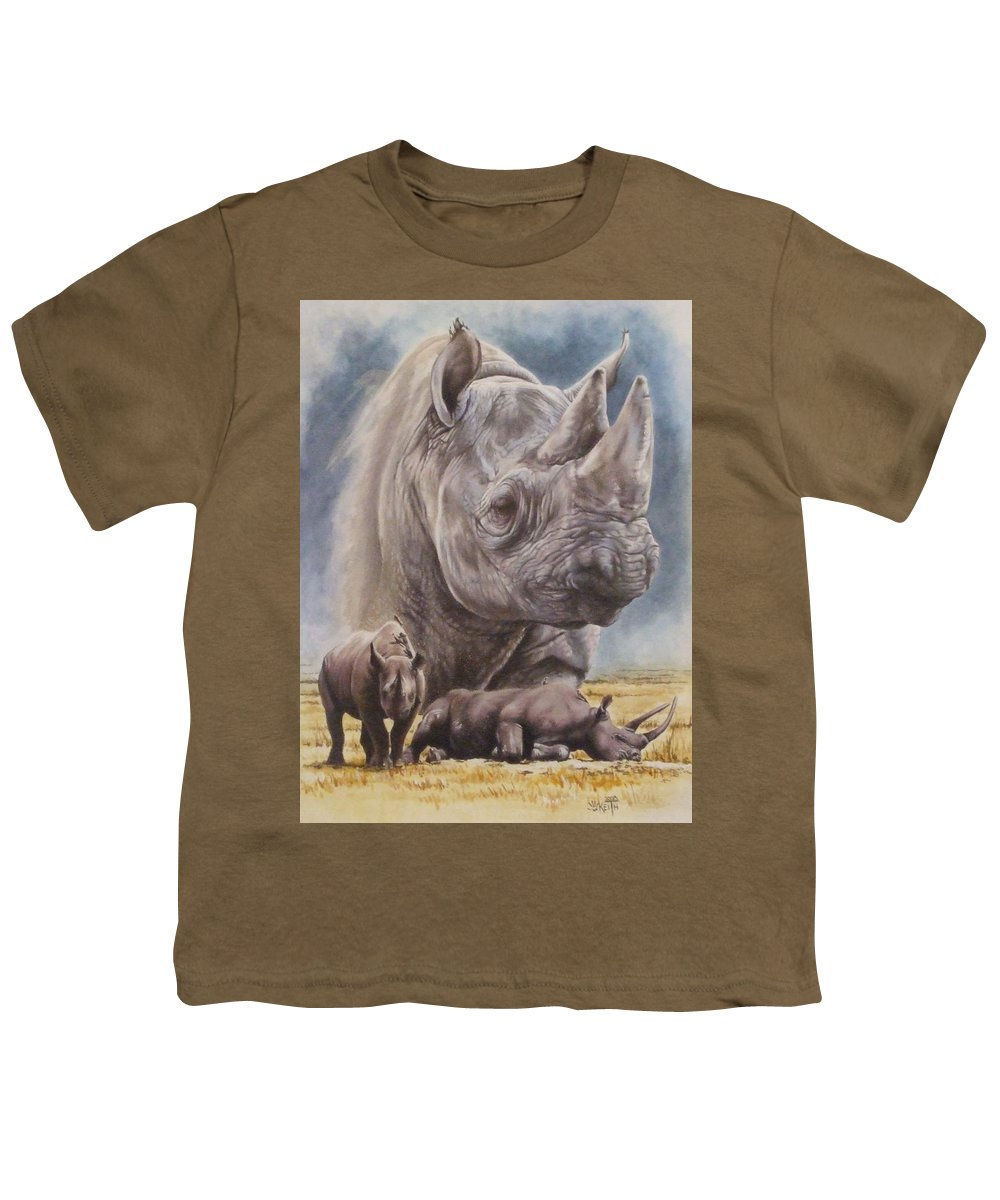 Wildlife Youth T-Shirt featuring the mixed media Precarious by Barbara Keith