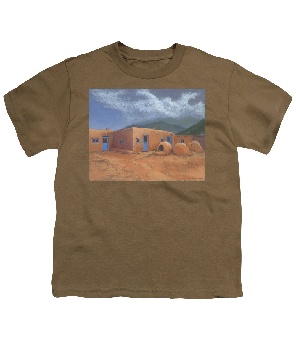 Taos Youth T-Shirt featuring the painting Puertas Azul by Jerry McElroy