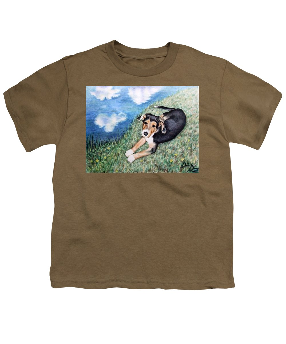 Dog Youth T-Shirt featuring the painting Puppy Max by Nicole Zeug