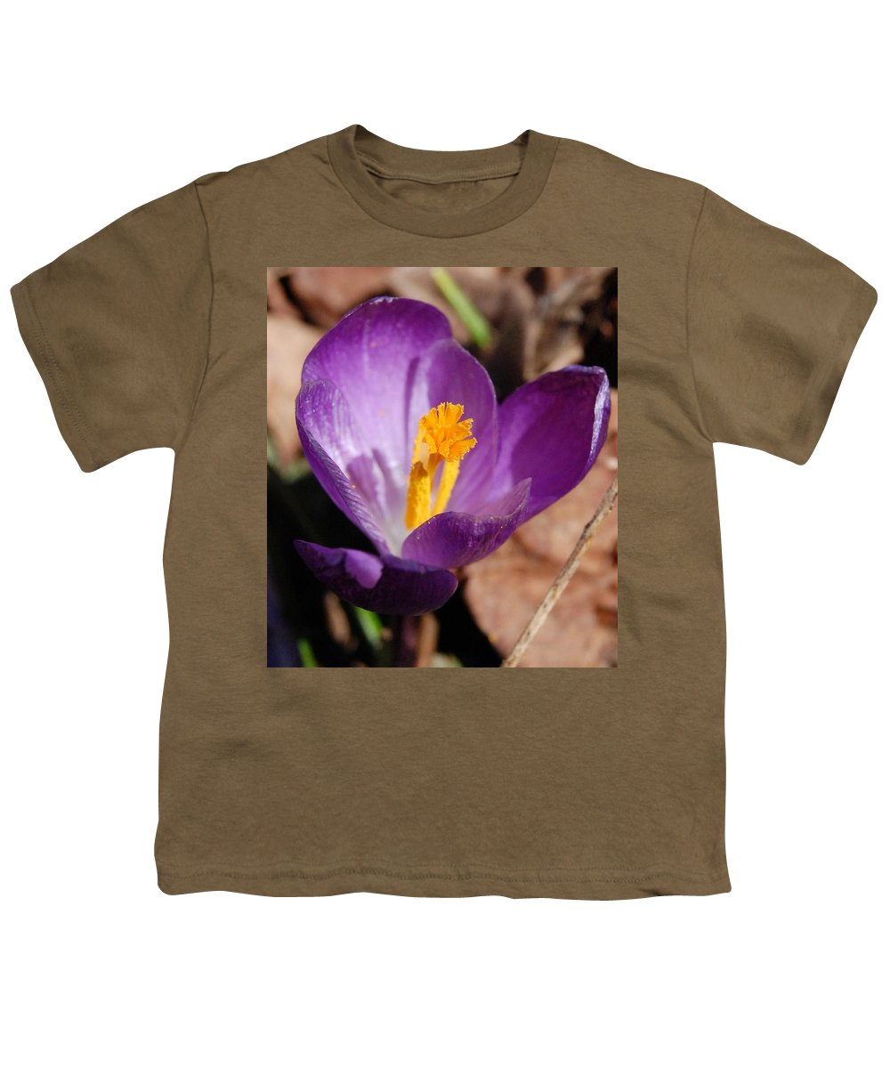 Digital Photography Youth T-Shirt featuring the photograph Purple Crocus by David Lane