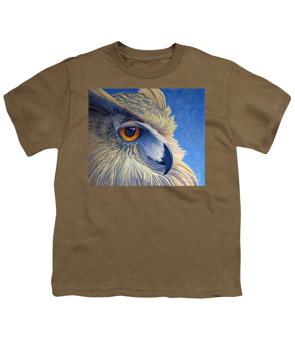 Owl Youth T-Shirt featuring the painting Quiet Joy by Brian Commerford