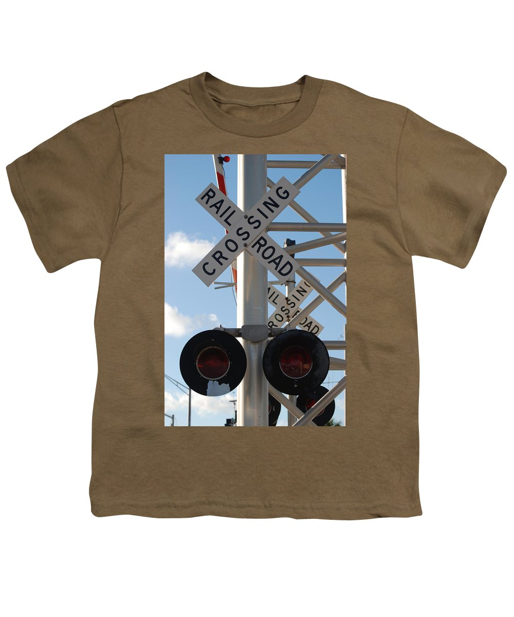 Train Youth T-Shirt featuring the photograph R X R Crossing by Rob Hans