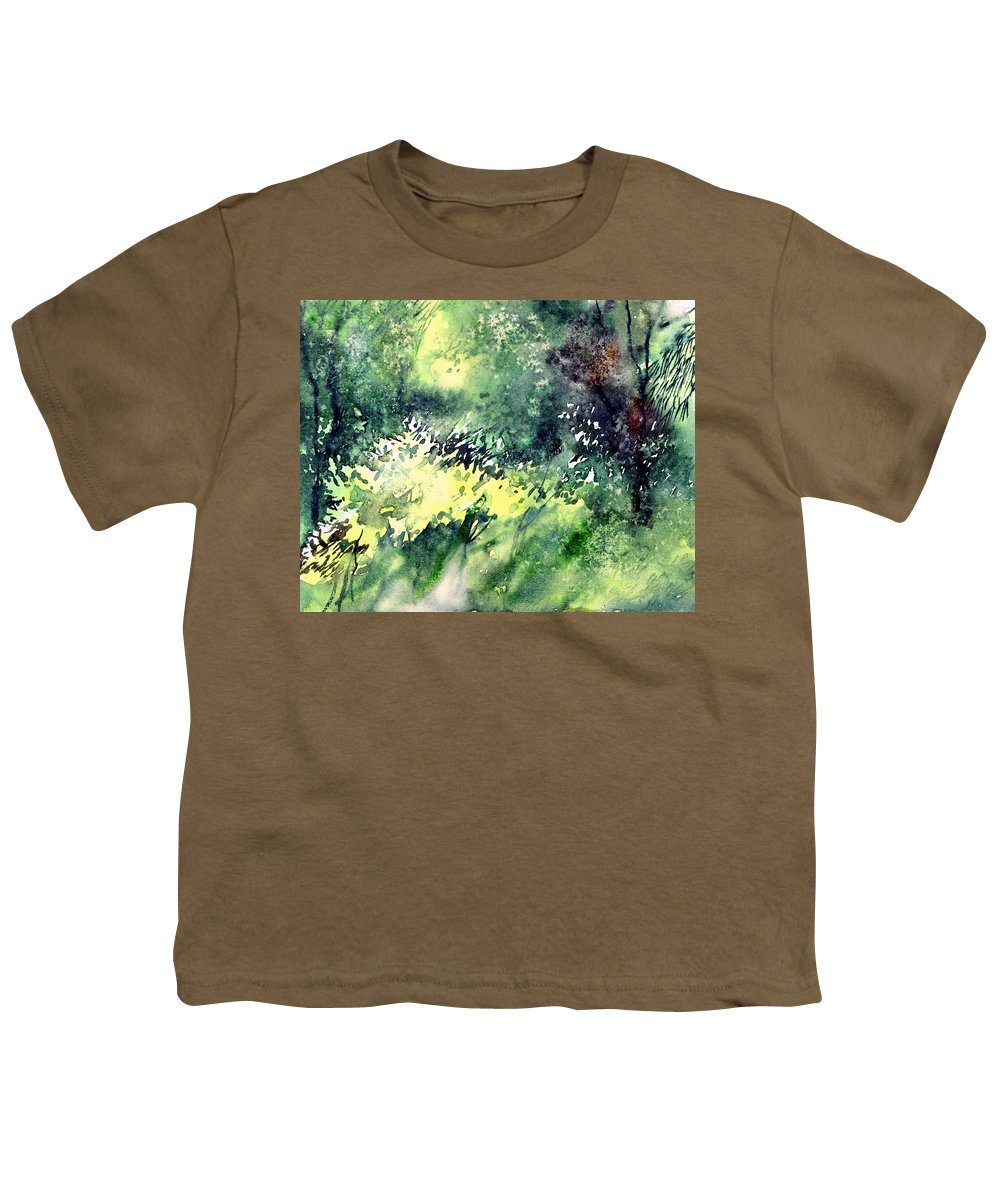 Landscape Watercolor Nature Greenery Rain Youth T-Shirt featuring the painting Rain Gloss by Anil Nene