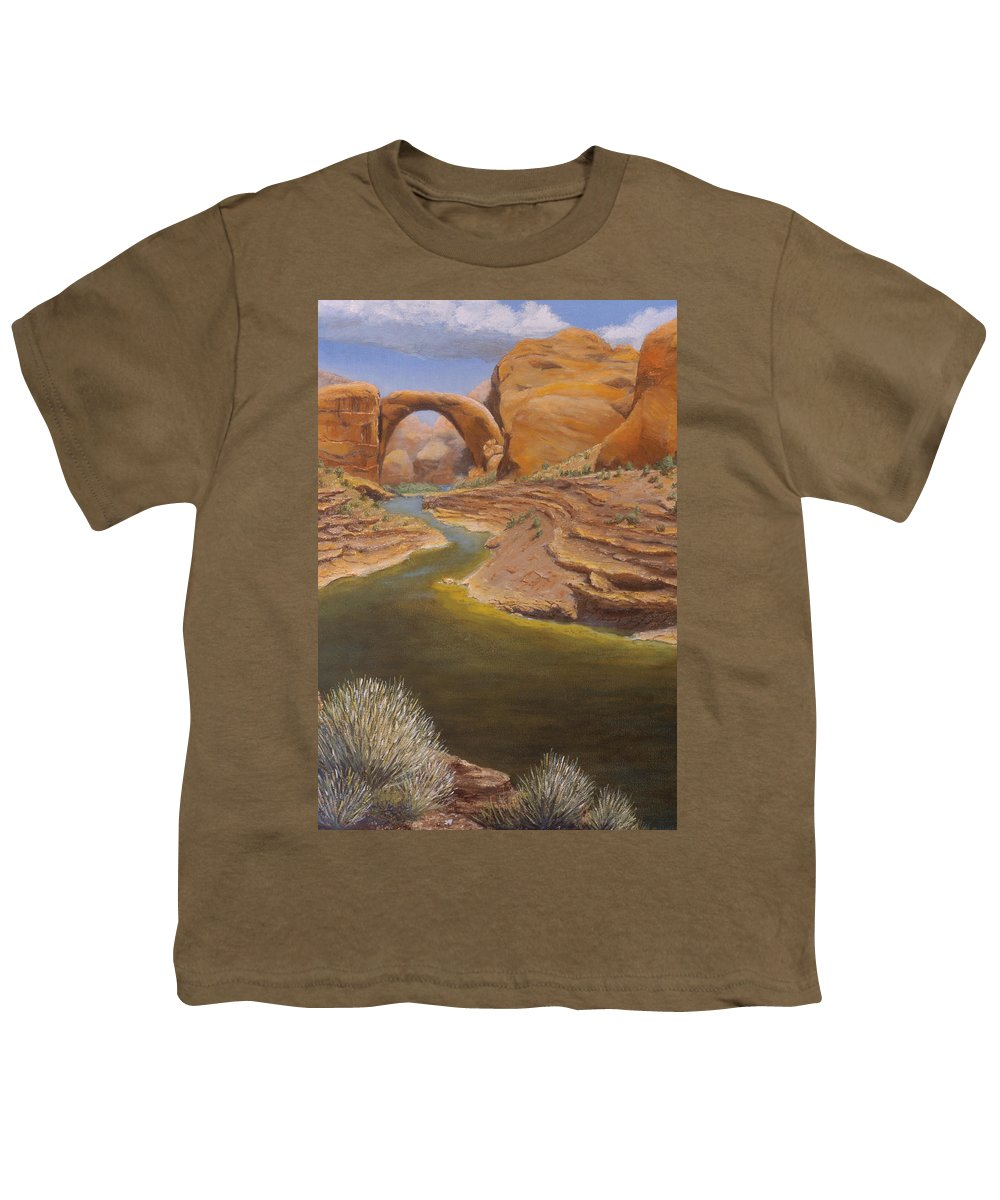 Rainbow Bridge Youth T-Shirt featuring the painting Rainbow Bridge by Jerry McElroy