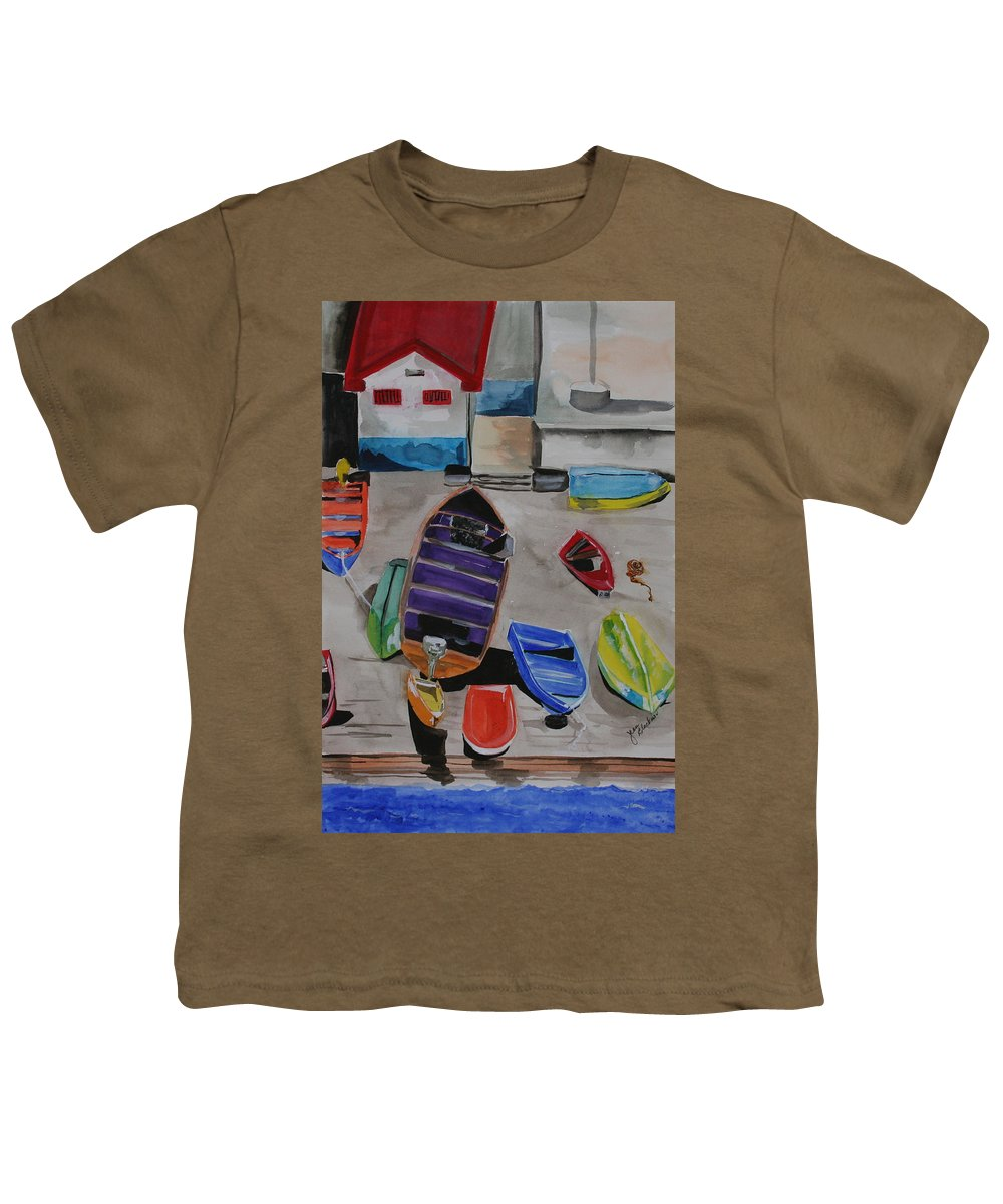 Boats Youth T-Shirt featuring the painting Rainbow On The Dock by Jean Blackmer