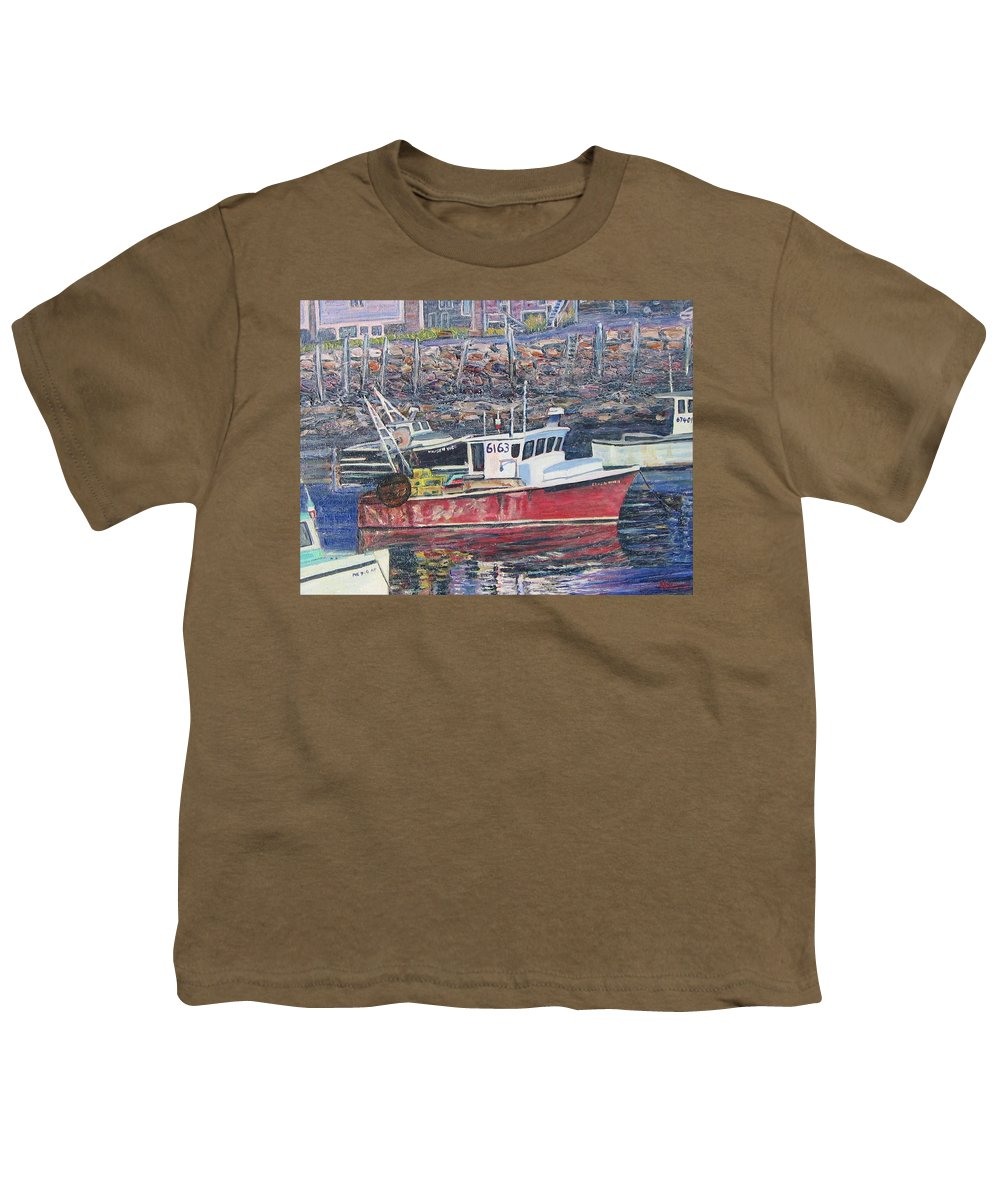 Boat Youth T-Shirt featuring the painting Red Boat Reflections by Richard Nowak