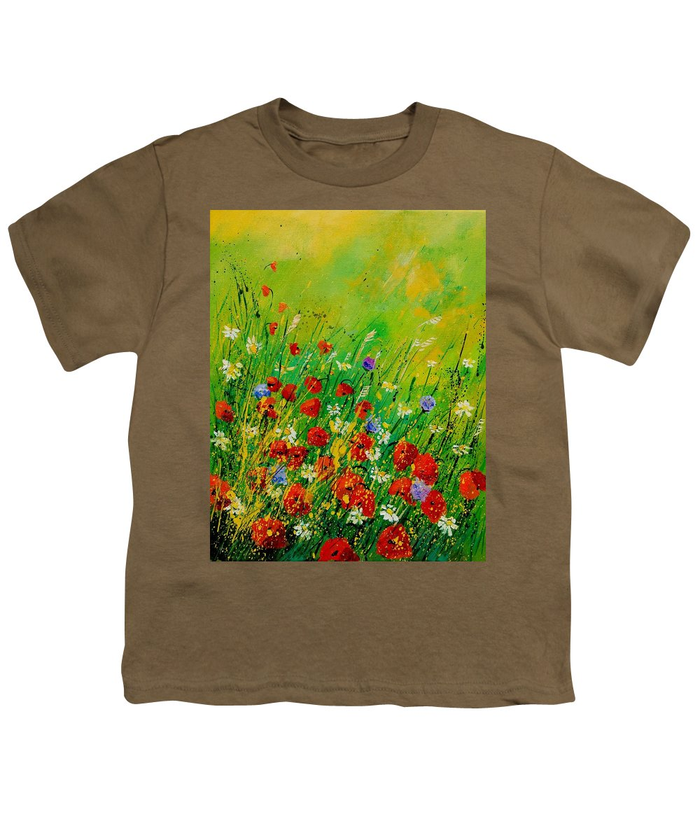 Flowers Youth T-Shirt featuring the painting Red Poppies 450708 by Pol Ledent