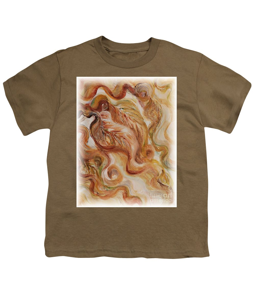 Leaves Youth T-Shirt featuring the painting Reflective Leaves by Nadine Rippelmeyer