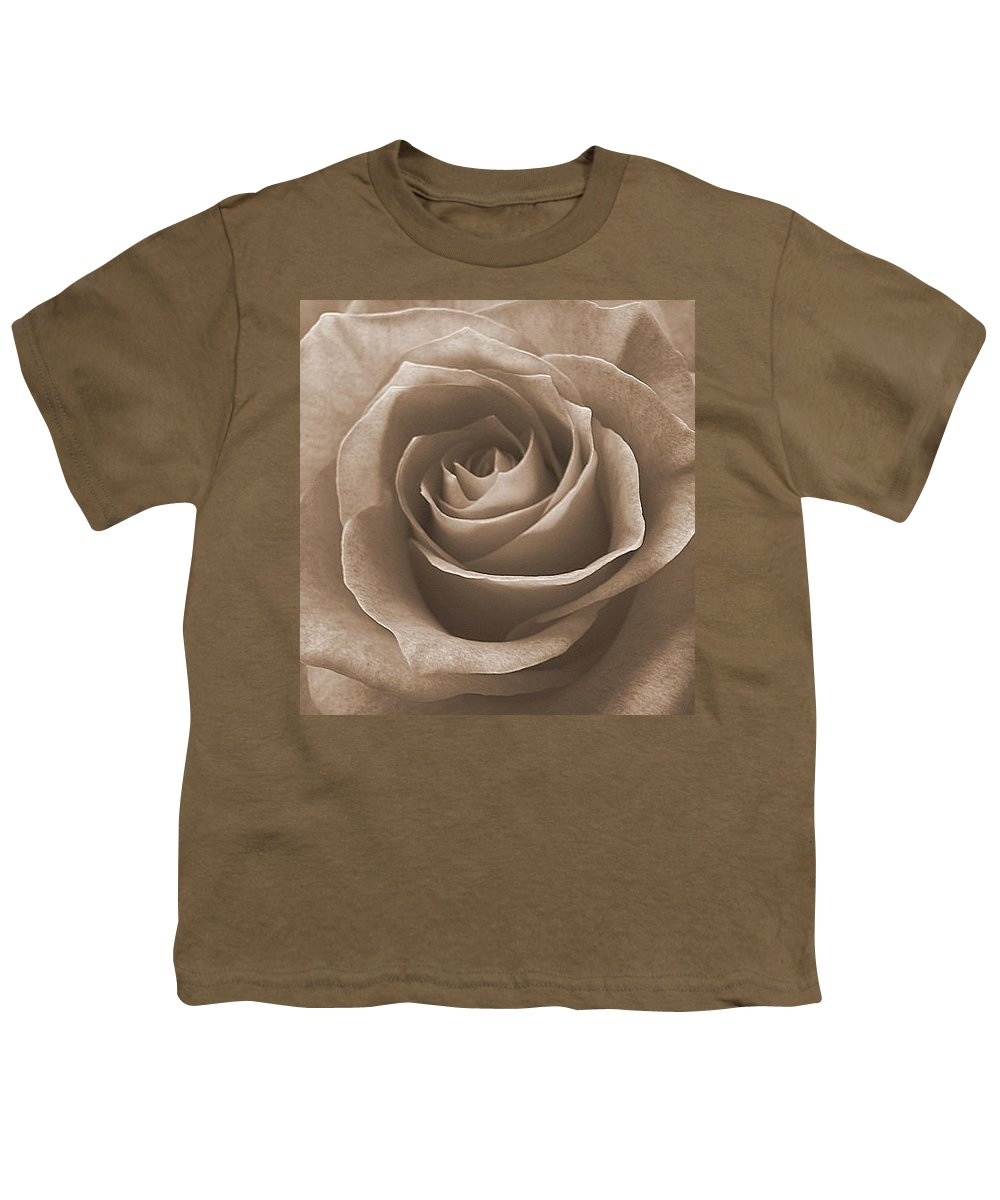 Rose Sepia Pedals Youth T-Shirt featuring the photograph Rose In Sepia by Luciana Seymour