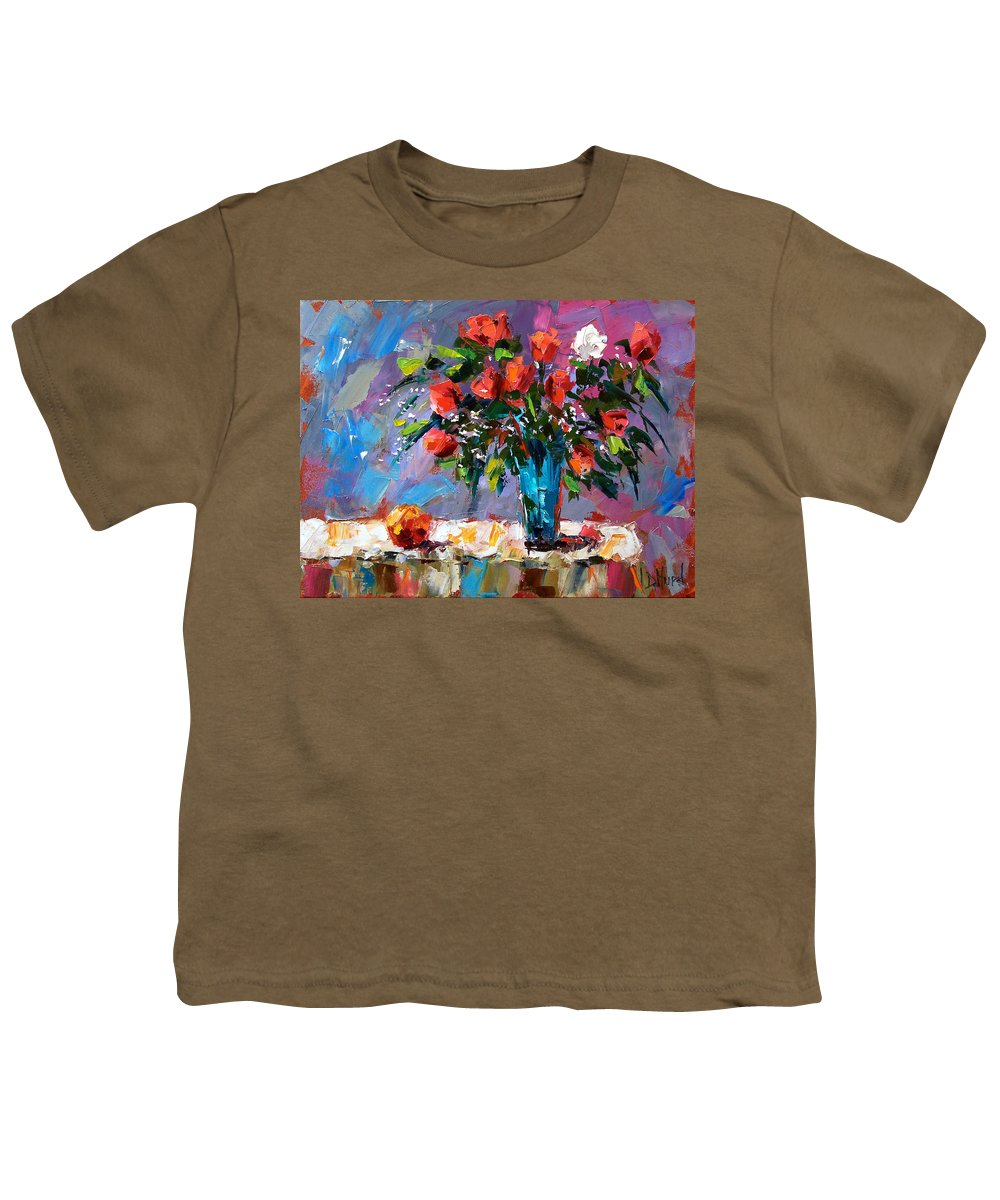 Flowers Youth T-Shirt featuring the painting Roses And A Peach by Debra Hurd