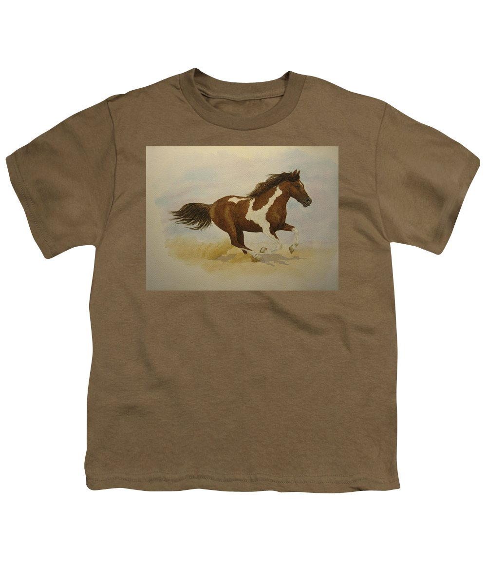 Paint Horse Youth T-Shirt featuring the painting Running Paint by Jeff Lucas