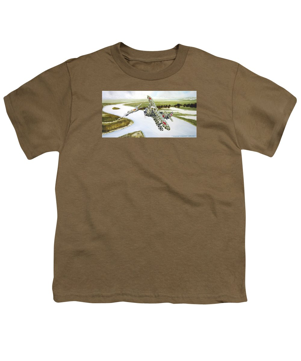 Aviation Youth T-Shirt featuring the painting Russian Roulette by Marc Stewart