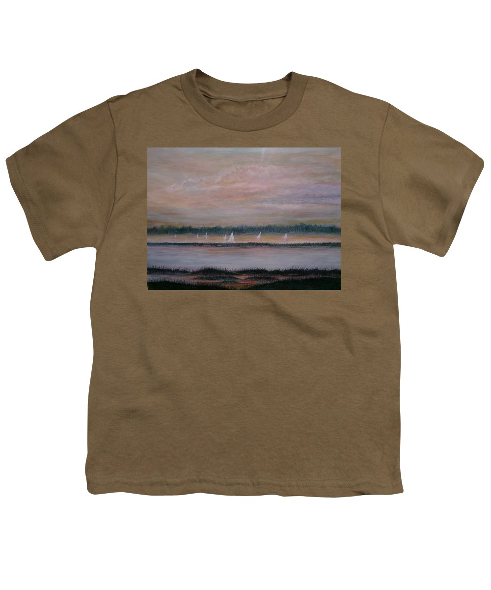 Sailboats; Marsh; Sunset Youth T-Shirt featuring the painting Sails In The Sunset by Ben Kiger