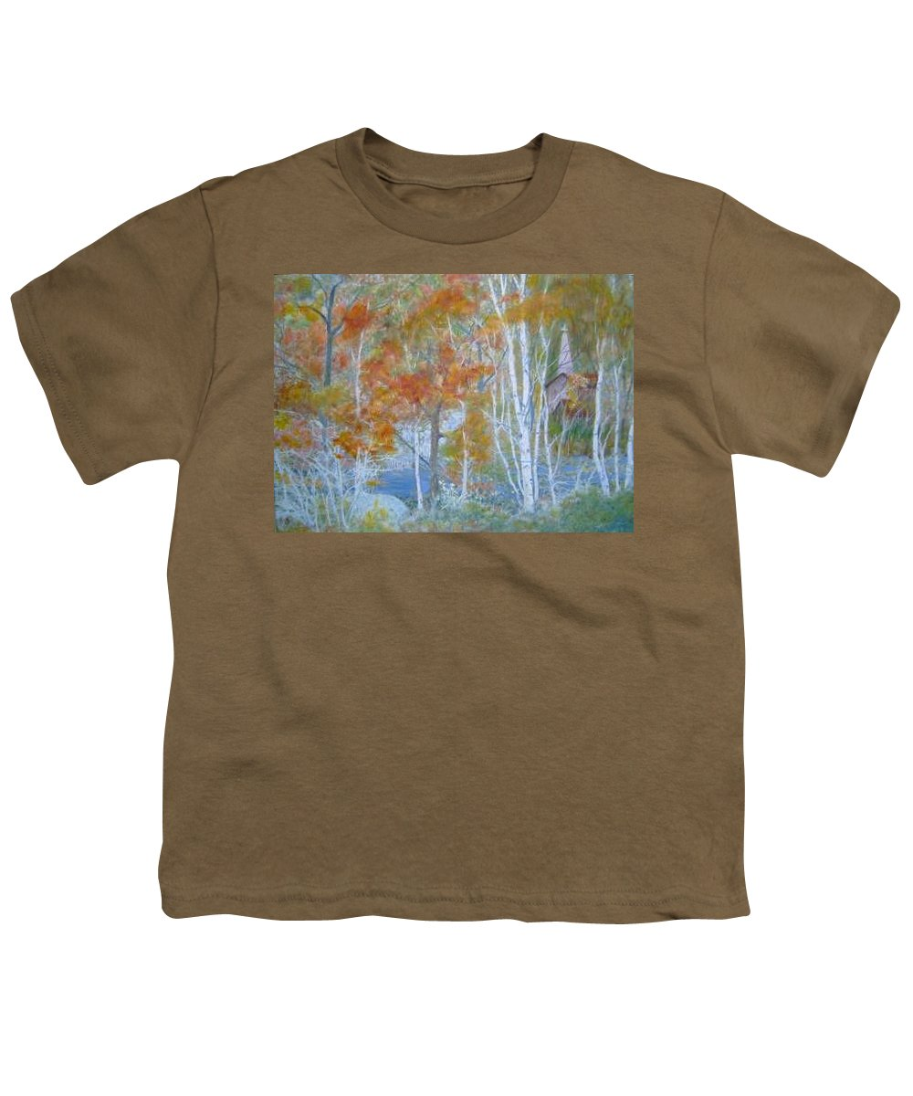Church; Landscape; Birch Trees Youth T-Shirt featuring the painting Sanctuary by Ben Kiger