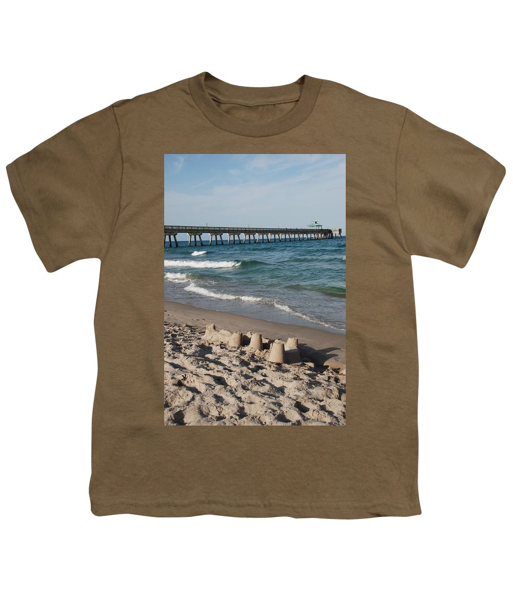 Sea Scape Youth T-Shirt featuring the photograph Sand Castles And Piers by Rob Hans
