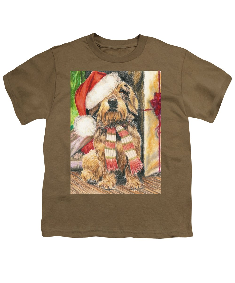 Dogs Youth T-Shirt featuring the drawing Santas Little Yelper by Barbara Keith