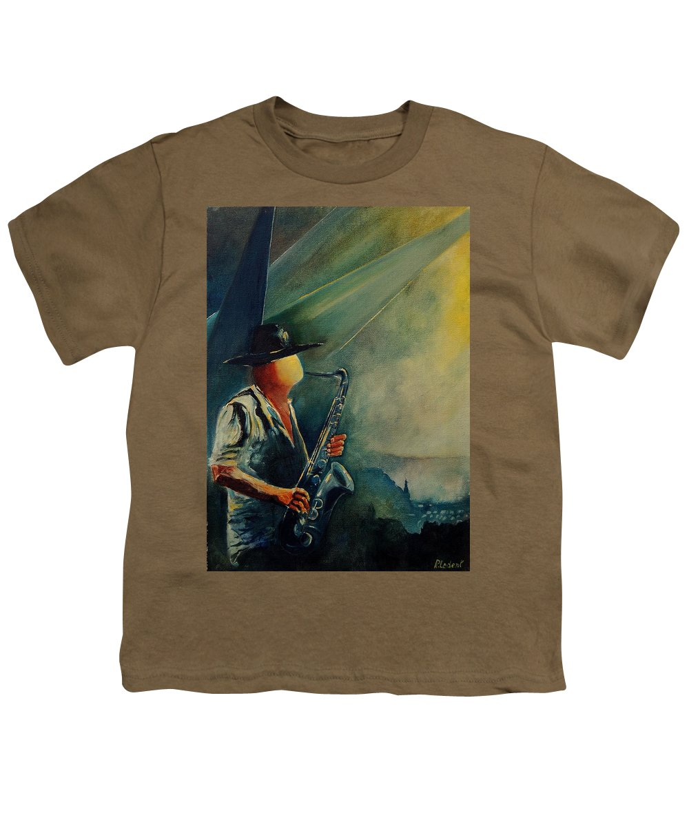 Music Youth T-Shirt featuring the painting Sax Player by Pol Ledent