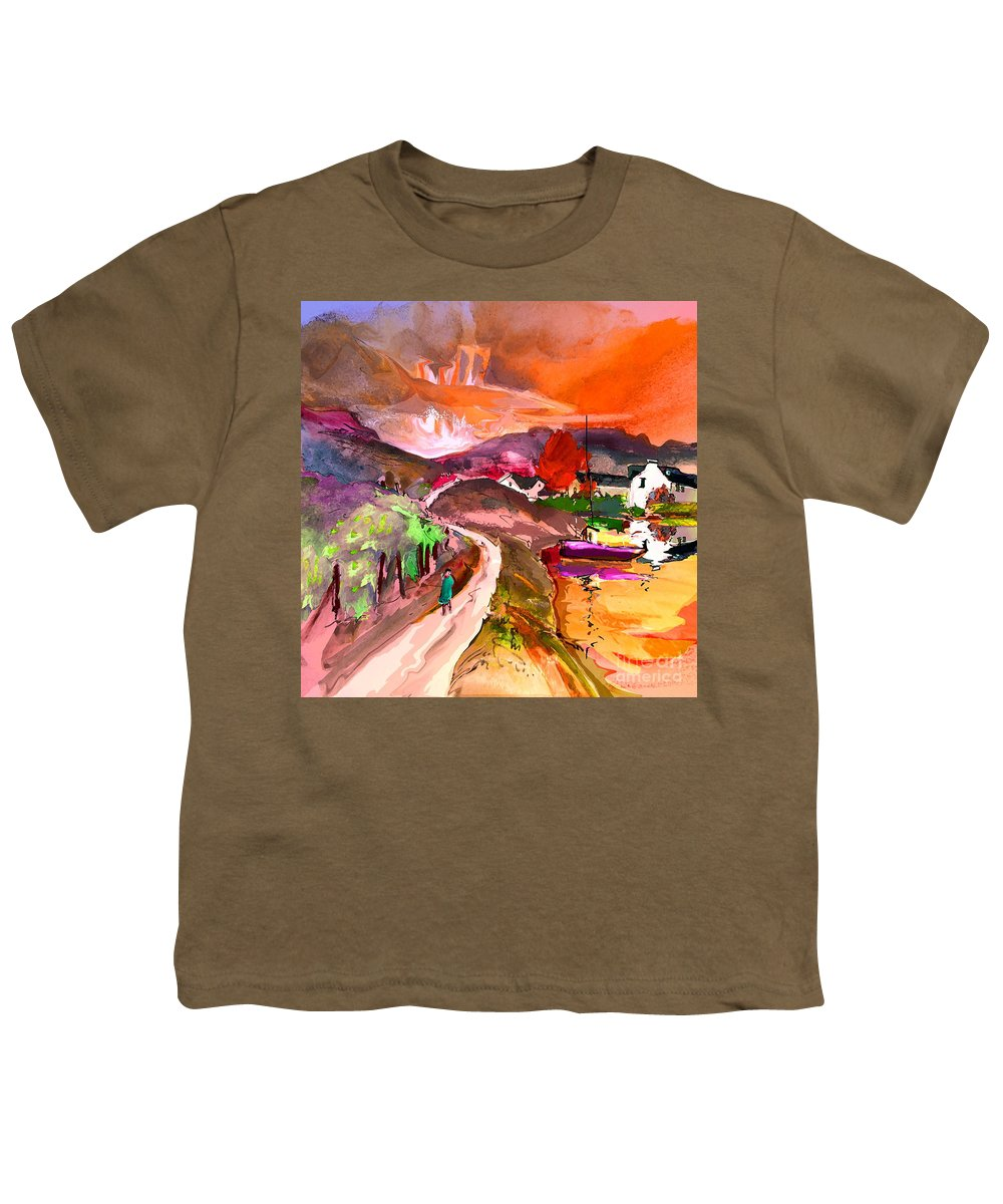 Scotland Paintings Youth T-Shirt featuring the painting Scotland 02 by Miki De Goodaboom