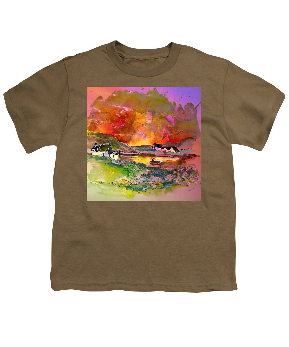 Scotland Paintings Youth T-Shirt featuring the painting Scotland 07 by Miki De Goodaboom