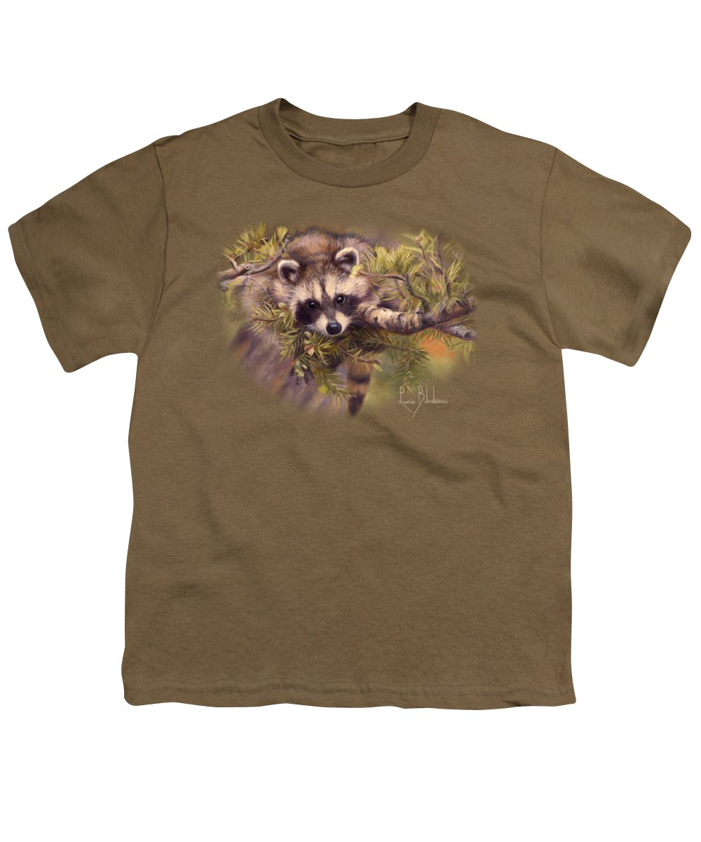 Raccoon Youth T-Shirt featuring the painting Seeking Mischief by Lucie Bilodeau