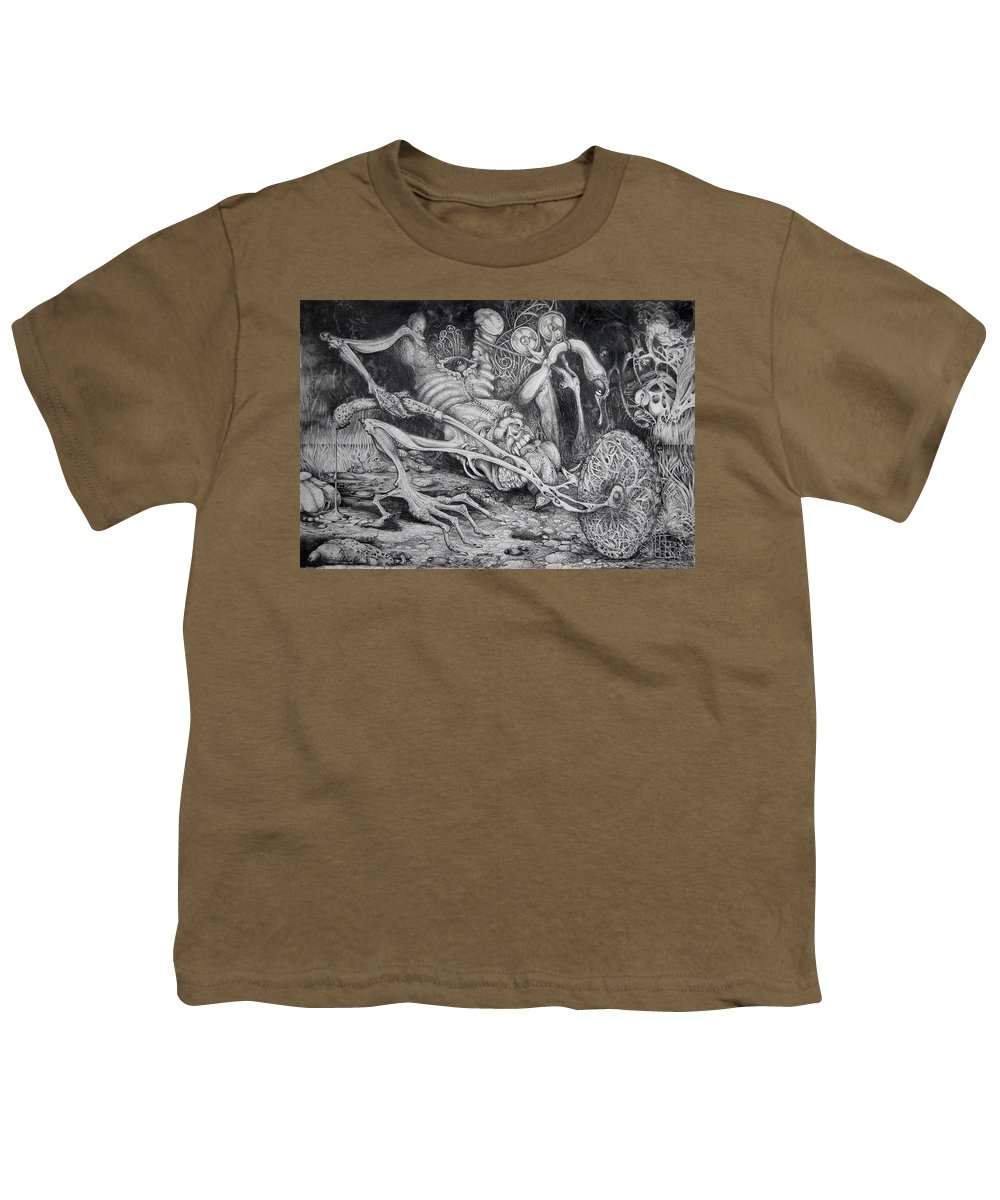 Surrealism Youth T-Shirt featuring the drawing Selfpropelled Beastie Seeder by Otto Rapp