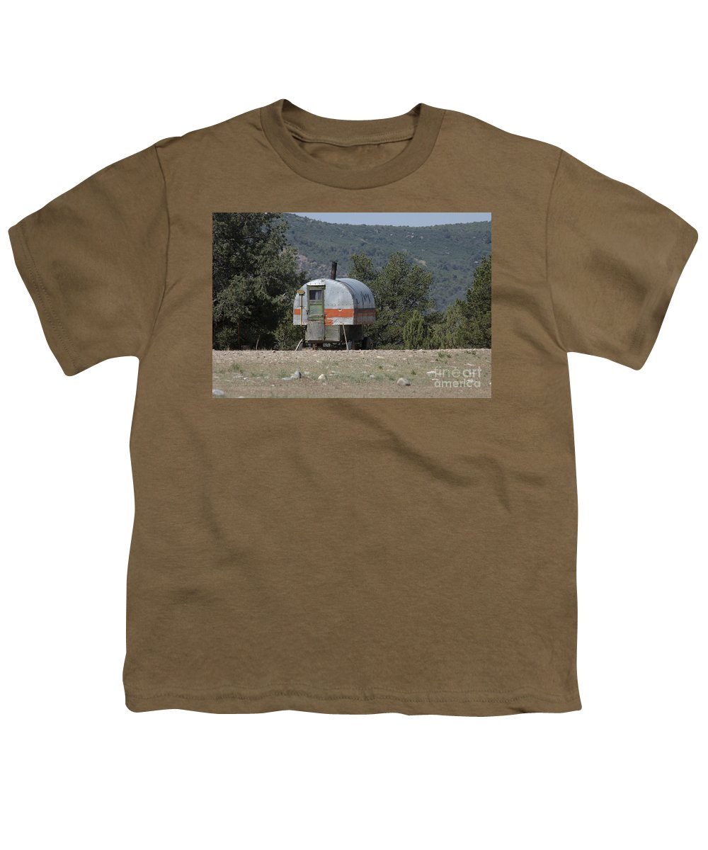 Sheep Youth T-Shirt featuring the photograph Sheep Herder's Wagon by Jerry McElroy