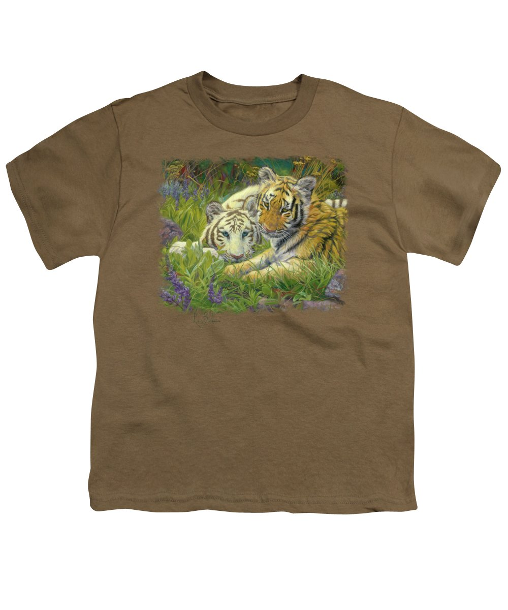 Tiger Youth T-Shirt featuring the painting Sisters by Lucie Bilodeau
