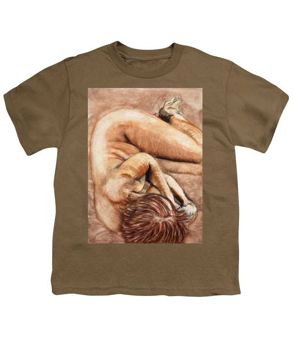 Nude Youth T-Shirt featuring the drawing Slumber Pose by Kerryn Madsen-Pietsch