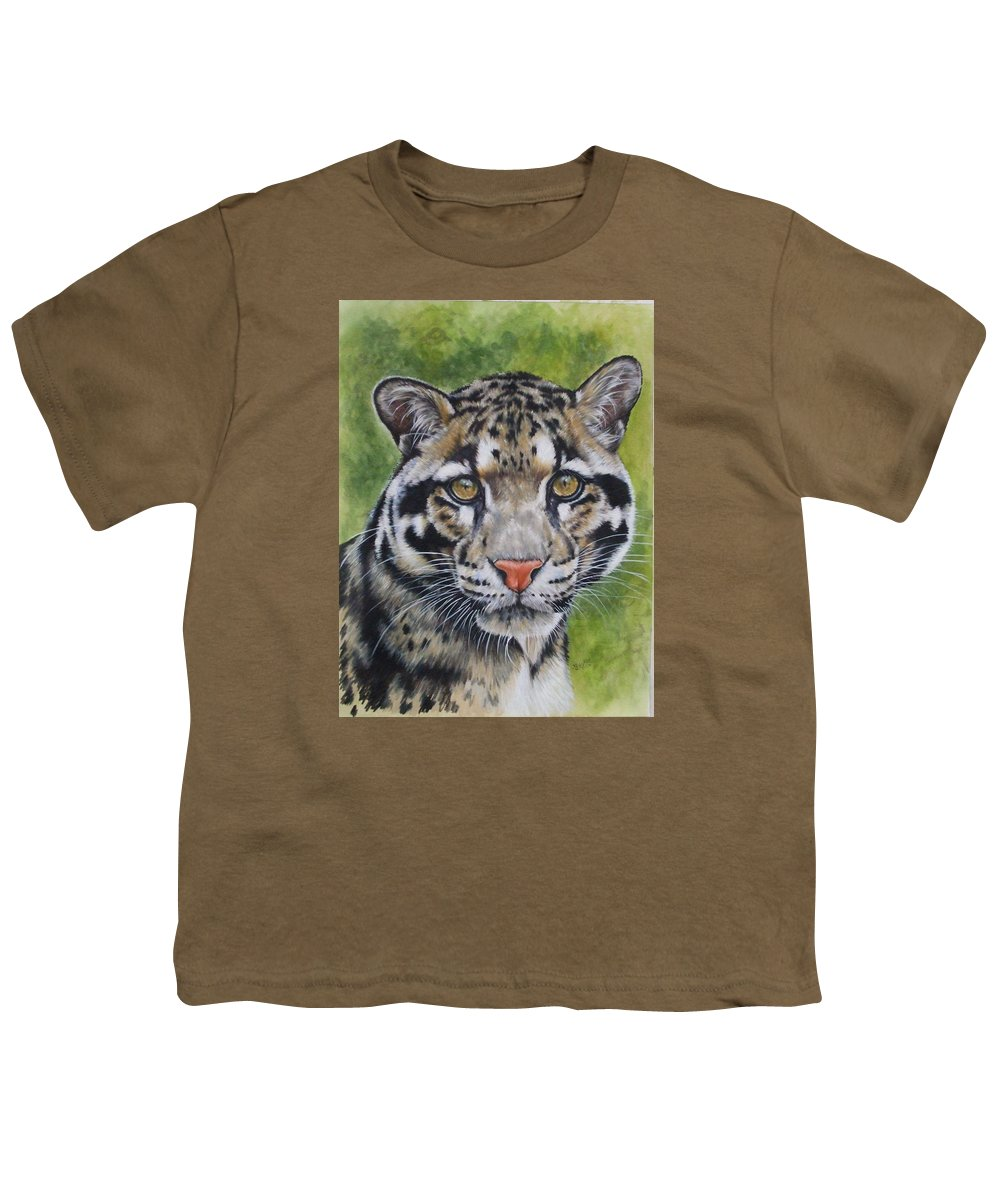 Clouded Leopard Youth T-Shirt featuring the mixed media Small But Powerful by Barbara Keith