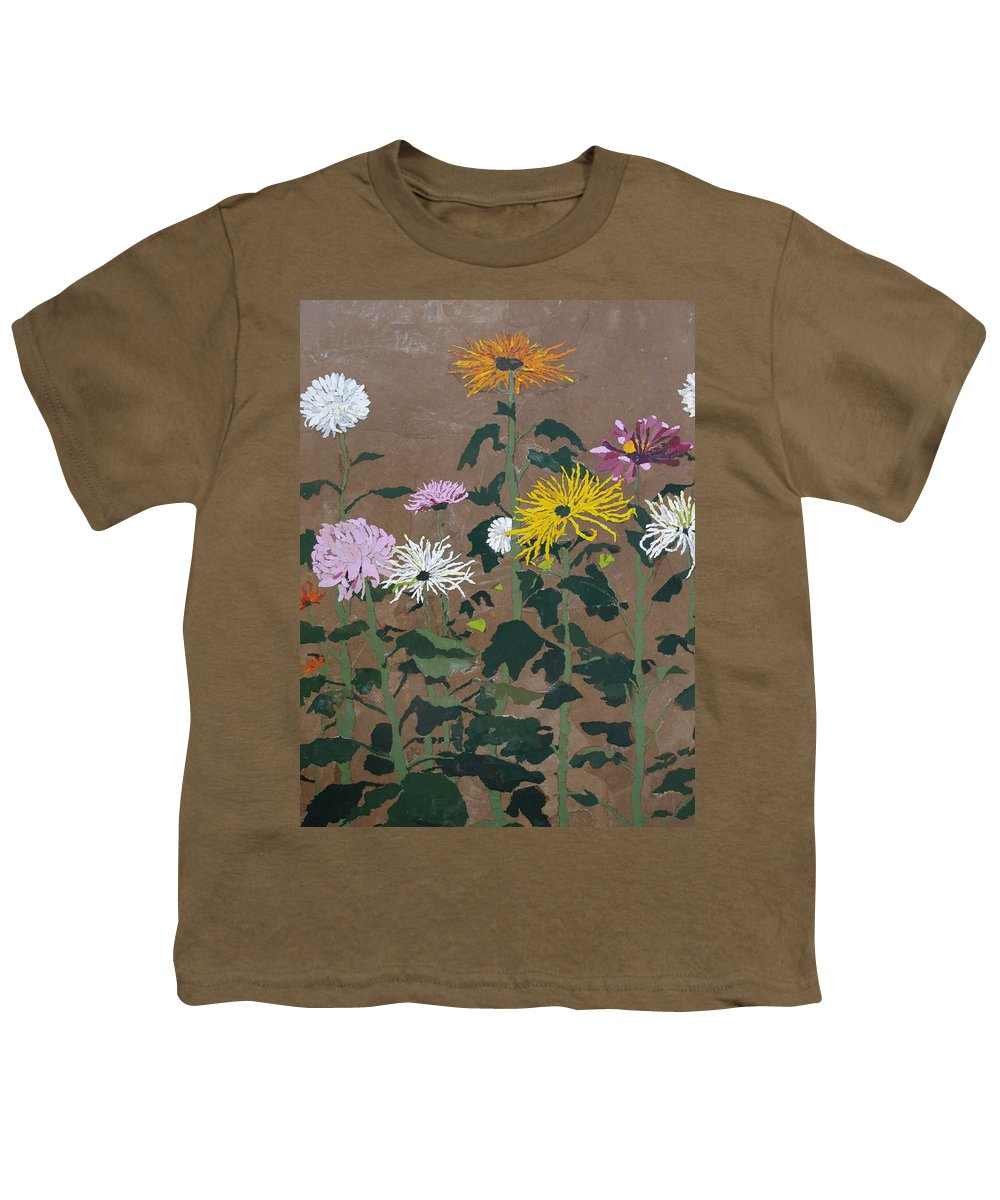 Collage Youth T-Shirt featuring the painting Smith's Giant Chrysanthemums by Leah Tomaino