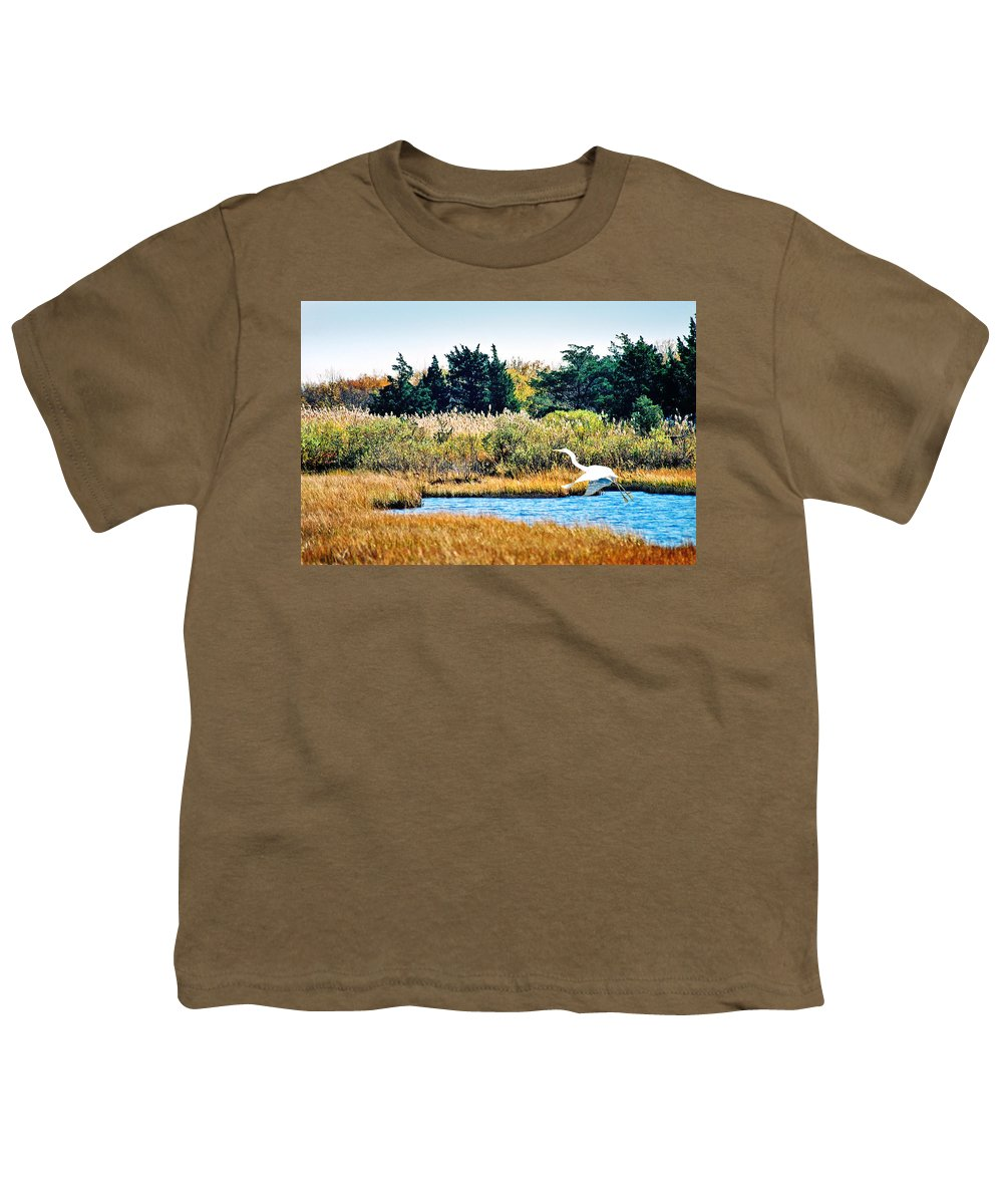 Landscape Youth T-Shirt featuring the photograph Snowy Egret-island Beach State Park N.j. by Steve Karol