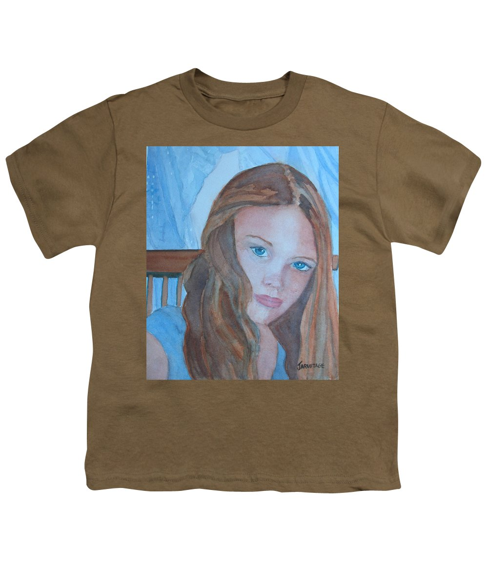 Girls Youth T-Shirt featuring the painting Soft Steel by Jenny Armitage