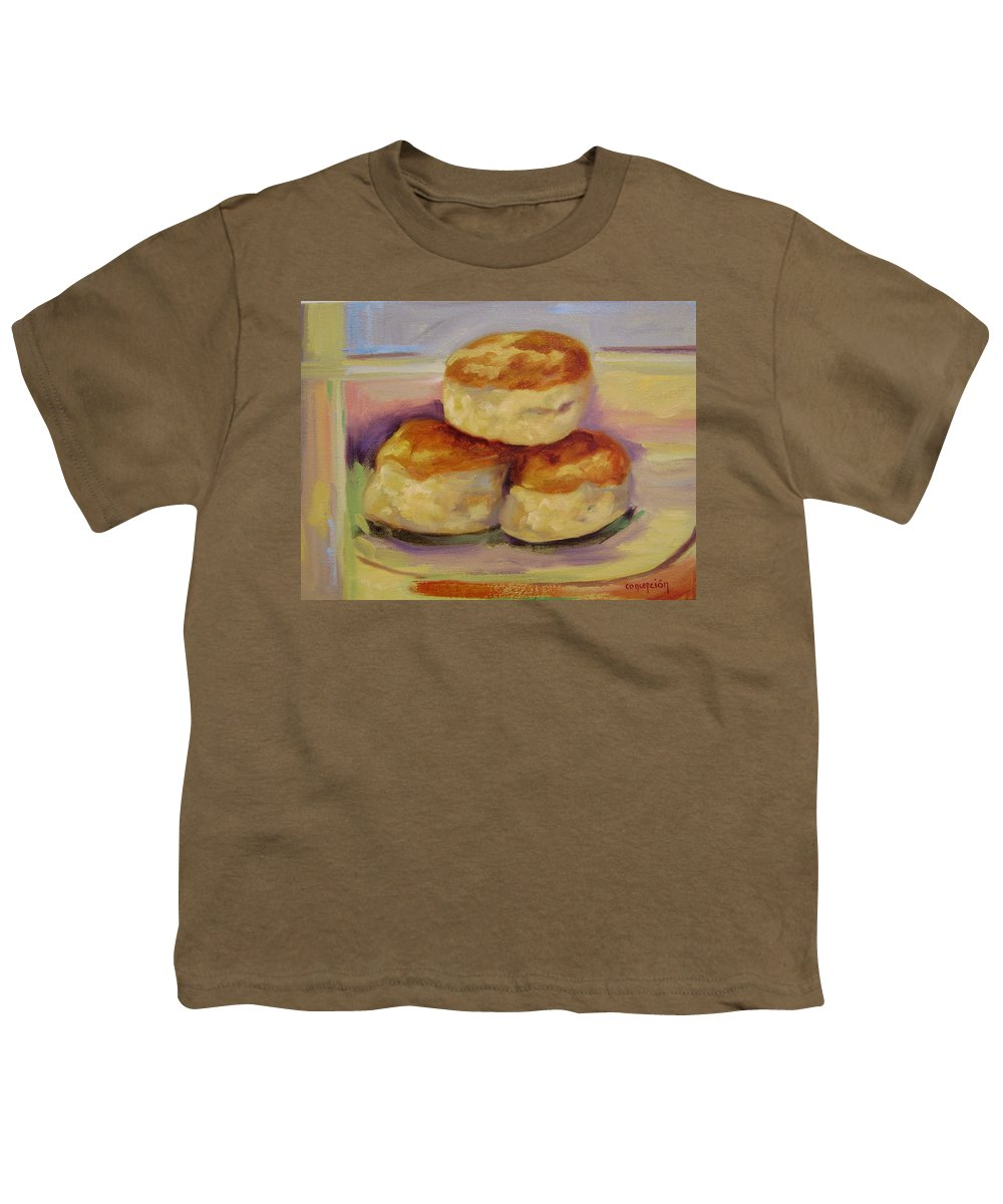 Biscuits Youth T-Shirt featuring the painting Southern Morning Fare by Ginger Concepcion